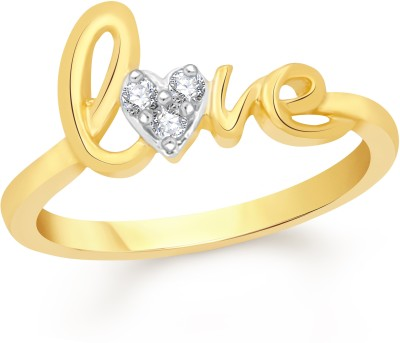 VK Jewels Love Alloy Cubic Zirconia 18K Yellow Gold Plated Ring at flipkart