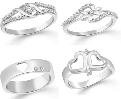 Classic Star Gift Band Combo for Women Alloy Cubic Zirconia White Gold Plated Ring at flipkart