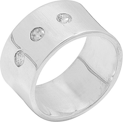 Voylla ArtificialClassic Plain Alloy Crystal Rhodium Plated Ring