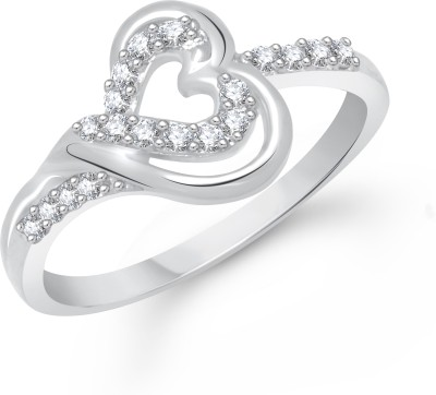 VK Jewels Dil Shape Solitaire Rhodium Plated Alloy Cubic Zirconia Ring