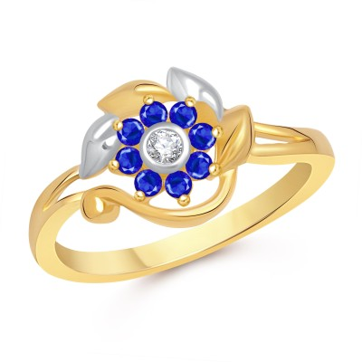 VK Jewels Estonia Flower Alloy Cubic Zirconia 18K Yellow Gold Plated Ring