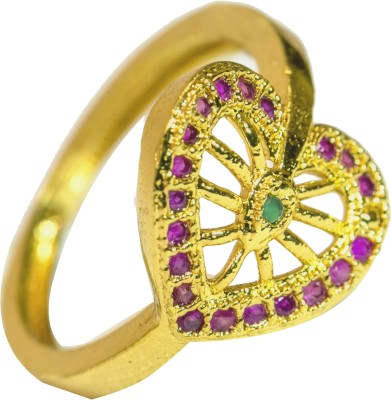 INKA Alloy Cubic Zirconia 22K Yellow Gold Plated Ring at flipkart