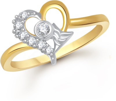 VK Jewels Cupid's Arrow Heart Alloy Cubic Zirconia Yellow Gold Plated Ring at flipkart