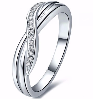 Banashree Jewellers Beautiful Silver Swarovski Zirconia Platinum Plated Ring at flipkart