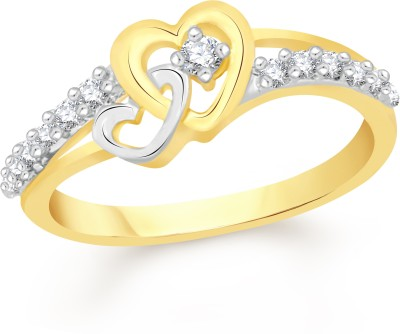 VK Jewels Sparkle Alloy Cubic Zirconia 18K Yellow Gold Plated Ring