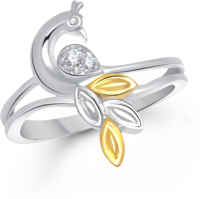 VK Jewels Feathers of Peacock Alloy Cubic Zirconia Yellow Gold Plated Ring at flipkart