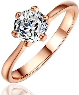 Kundaan Alloy Zircon 18K Rose Gold Plated Ring at flipkart