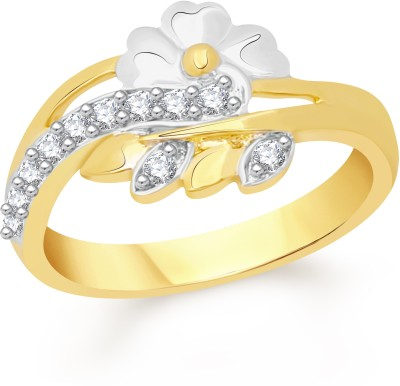 VK Jewels Leaf & Flower Alloy Cubic Zirconia 18K Yellow Gold Plated Ring