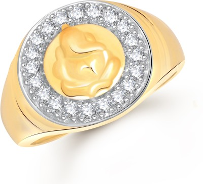 VK Jewels Shree Ganesh Alloy Cubic Zirconia Yellow Gold Plated Ring at flipkart