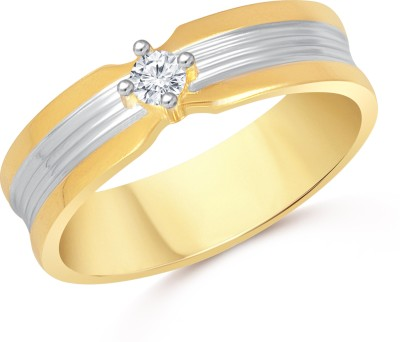 VK Jewels One Stone Alloy Cubic Zirconia Gold-plated Plated Ring