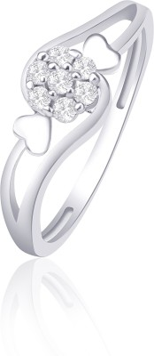 VK Jewels Dual Tone Heart Alloy Cubic Zirconia Rhodium Plated Ring