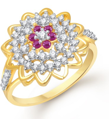 VK Jewels Stunning Flower Alloy Cubic Zirconia Yellow Gold Plated Ring at flipkart