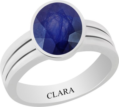 Neelam CLARA Certified Blue Sapphire 5.5cts or 6.25ratti original stone Sterling Silver Astrological Ring for Men and Women