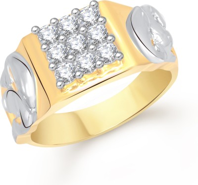 VK Jewels Dual Dolphin Alloy Cubic Zirconia Yellow Gold Plated Ring