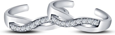 Vorra Fashion Intertwined New Design Sterling Silver Cubic Zirconia Platinum Plated Toe Ring at flipkart