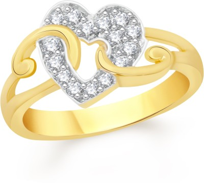 """VK Jewels Initial \""""I\"""" Diamond Studded Heart Alloy, Brass Cubic Zirconia Gold-plated Plated Ring"""