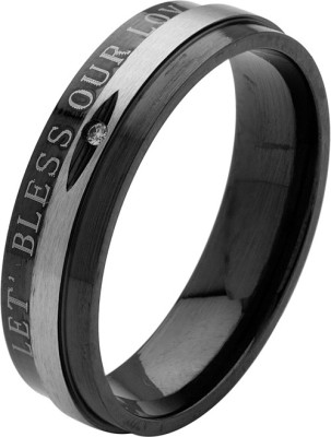 Voylla ArtificialClassic Plain Alloy Cubic Zirconia Rhodium Plated Ring