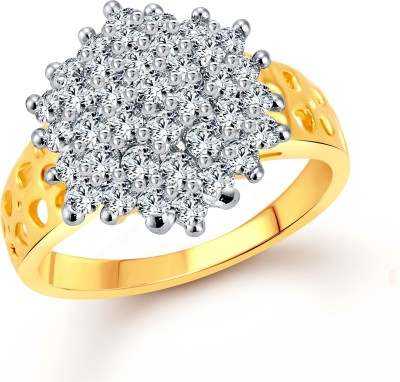 Vighnaharta Awesome Flora Alloy Cubic Zirconia Yellow Gold Plated Ring at flipkart