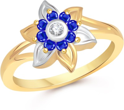 VK Jewels Aster Flower Alloy Cubic Zirconia 18K Yellow Gold Plated Ring