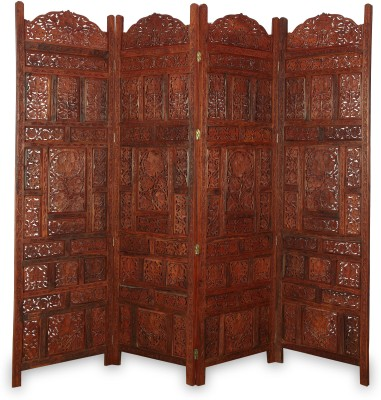 Onlineshoppee Solid Wood Decorative Screen Partition(Free Standing, Finish Color - Walnut)