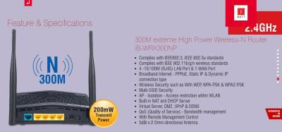 iBall iB-WRX300NP Baton Deewar Tod Extreme High Power Wi-Fi Router (Black)