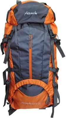 Attache Climate Proof Rucksack, Hiking Backpack 75Lts Orange & Grey With Rain Cover Rucksack  - 75 L(Orange) at flipkart