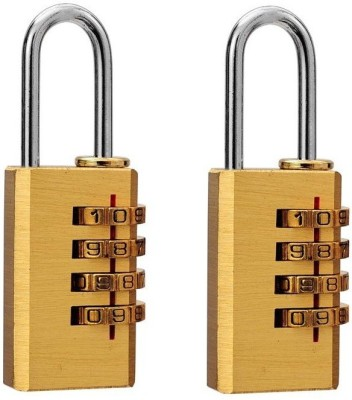 DOCOSS Set Of 2-4 Digit Brass Number Small Bag Travel Luggage Resettable Password Combination Lock(Gold)  available at flipkart for Rs.465