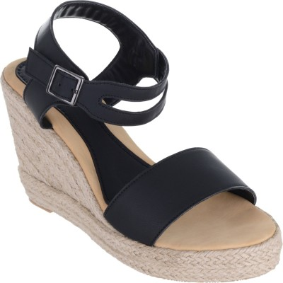 Sherrif Shoes Women black Wedges at flipkart