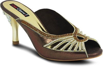 Get Glamr Designer Women Brown Heels at flipkart