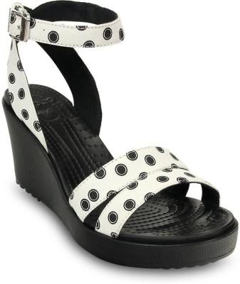 Crocs Women Black::White Wedges at flipkart