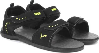 Puma Men Black-Limepunch Sports Sandals