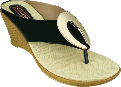 Smart Traders Women BLACK Wedges at flipkart
