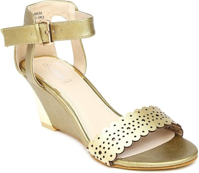 Dressberry Women Gold Heels at flipkart