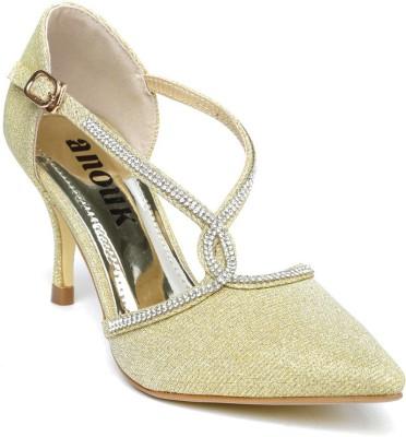 Anouk Women Gold Heels at flipkart