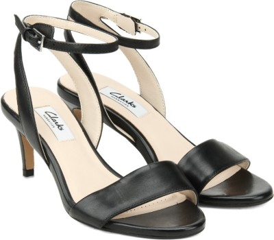 Clarks Women Black Leather Heels at flipkart