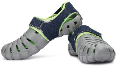 Globalite Men Grey Lime Denim Sports Sandals at flipkart