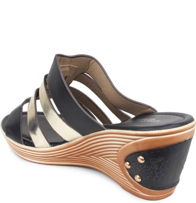 London Steps Women Black Wedges