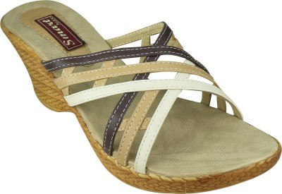 Smart Traders Women BROWN Wedges at flipkart