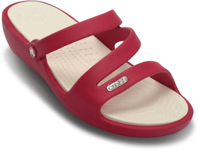 Crocs Women Raspberry/Oyster Wedges at flipkart