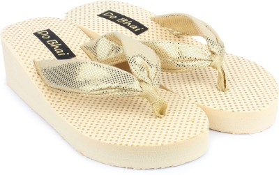 Do Bhai Women Cream Wedges at flipkart