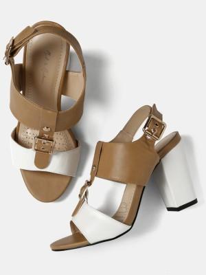 Mast & Harbour Women White, Brown Heels at flipkart