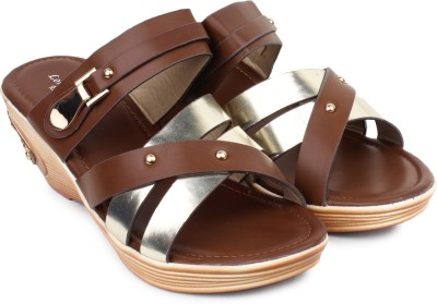 London Steps Women Brown Wedges