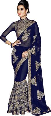 Aashvi Creation Embroidered, Self Design Bollywood Georgette Saree
