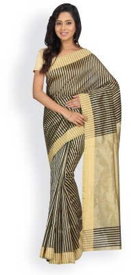 Pavechas Striped Banarasi Silk Cotton Blend Saree(Gold, Black) at flipkart