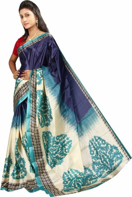 Anushree Saree Printed Fashion Silk Saree(Multicolor)