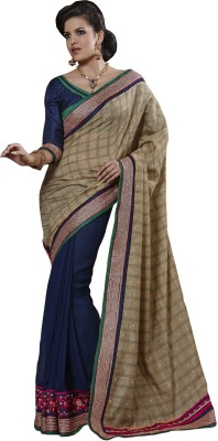 Yosshita & Neha Printed Fashion Chiffon Saree(Brown, Purple)
