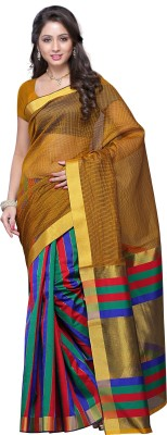 Mimosa Striped Kanjivaram Handloom Banarasi Silk Saree(Gold)  available at flipkart for Rs.649