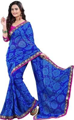 Oomph! Embroidered Fashion Chiffon Saree(Blue)
