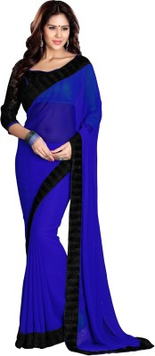 Sourbh Sarees Solid Fashion Poly Georgette Saree(Blue, Black)