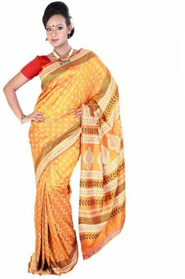 Fashionvibes Self Design Murshidabad Handloom Poly Silk Saree(Yellow) at flipkart